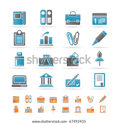 Business, Office and Finance Icons - Vector Icon Set - stock vector