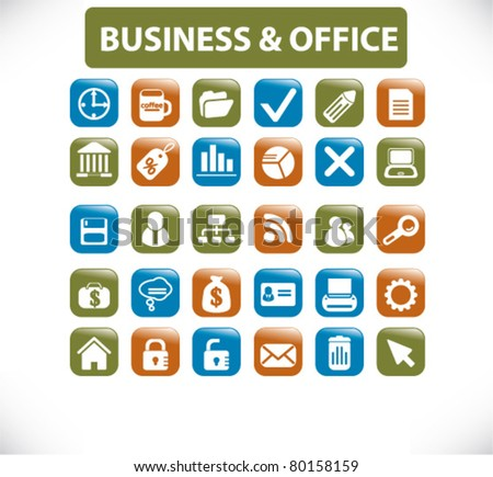 business office buttons, icons, signs, vector illustrations - stock vector