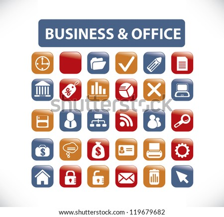 business & office buttons, signs, icons set, vector