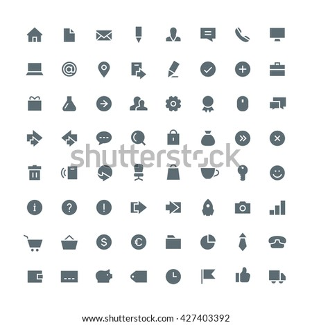 Business, office, contacts, shop, money, system and website total vector icon set - 64 different symbols on the white background