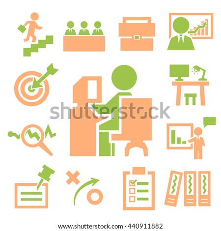business office icons set - stock vector