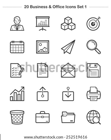 Business & Office Icons set 1, Line icon - Vector illustration - stock vector