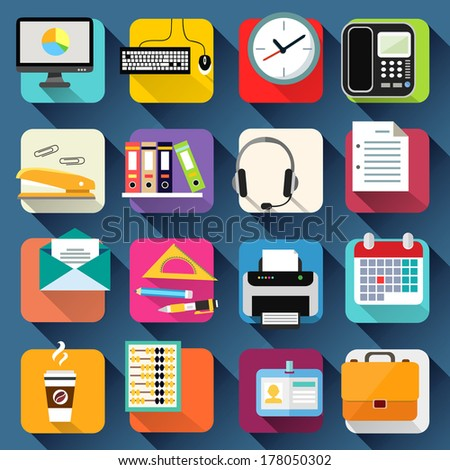 Business office stationery icons set of computer briefcase headphones and coffee isolated vector illustration - stock vector