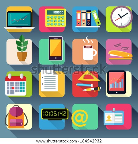Business office stationery icons set of laptop computer tablet and smartphone vector illustration - stock vector