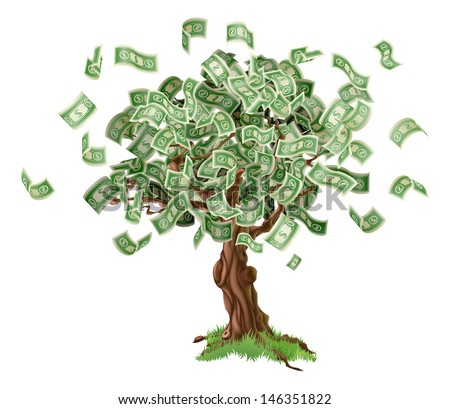 Business or savings concept of a money tree with growing dollar bills or other money. - stock vector