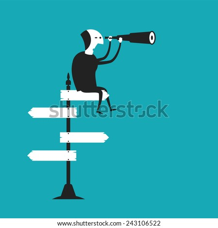 Business outlook vector concept in flat cartoon style - stock vector