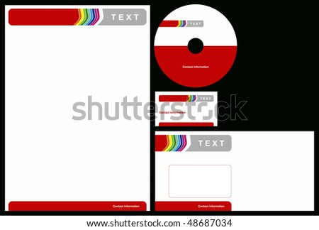 Business package business card letterhead envelope stock vector business package with business card letterhead envelope and cd reheart Choice Image