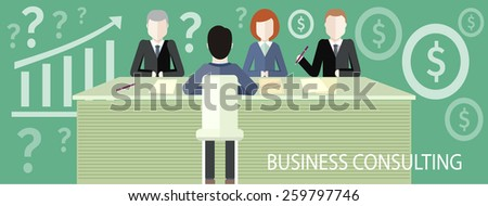 Business partners sitting at table and discussing documents and ideas at meeting. Business consulting concept flat design. For web banners, marketing and promotional materials, presentation templates - stock vector