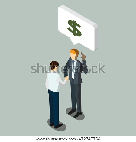 Business partnership or Businessmen Discussion, isometric business character people
