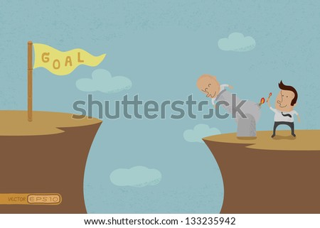 Business people aiming for a high target , eps10 vector format - stock vector