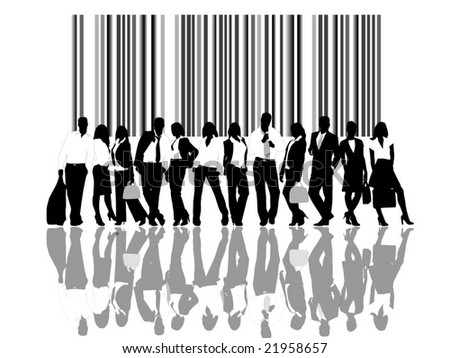 business people and bar code