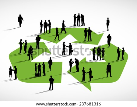 Business people and the recycling symbol. - stock vector