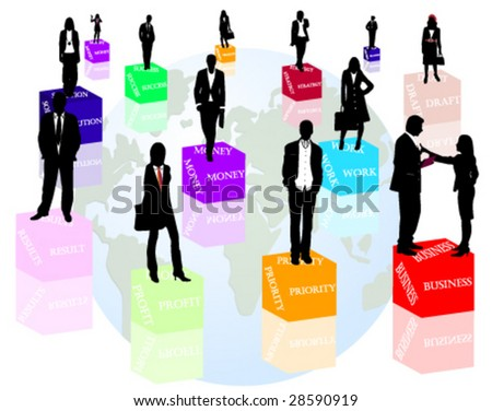 Business people and words - stock vector