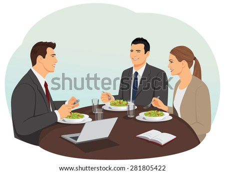 Business people are meeting and eating their lunch. Teamwork during lunch. - stock vector