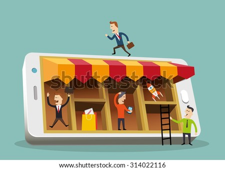 Business people around a smartphone. Mobile busines concept. Vector illustration. - stock vector