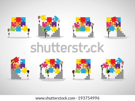 Business People Assembling Puzzles - Isolated On Gray Background - Vector Illustration, Graphic Design Editable For Your Design   - stock vector