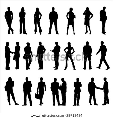 Business People Black Silhouette Vector Illustrations