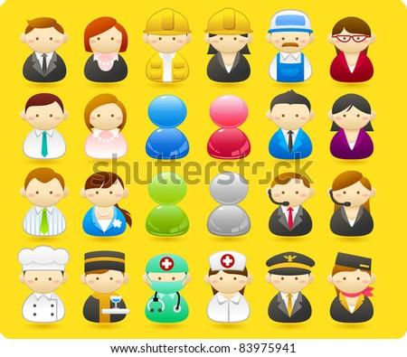 Business people, builders, nurses, doctors, architect. - stock vector