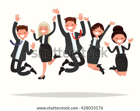 Business people celebrating a victory jump on a white background. Vector illustration of a flat design - stock vector