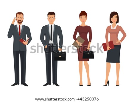 Business people characters in various poses. Vector illustration - stock vector