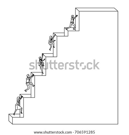 Business People Climbing Stair Block Structure Sketch Silhouette In White  Background Vector Illustration