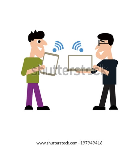 Business  people communicate by WiFi - stock vector