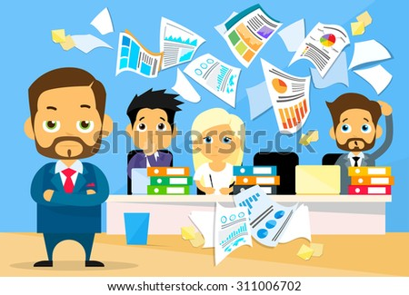Business People Conflict Problem, Boss Team Working Throw Papers, Documents Fly Concept  Negative Emotion, Businesspeople Desk Office Flat Vector Illustration - stock vector