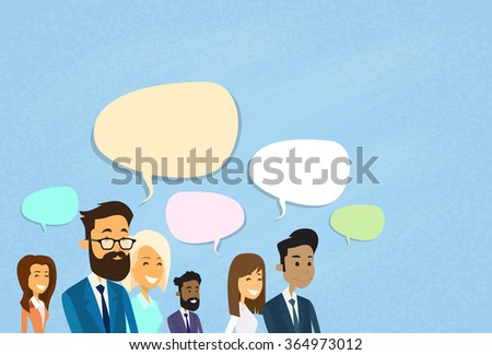 Business People Consulting Group Talking Discussing Chat Communication Social Network Vector Illustration - stock vector