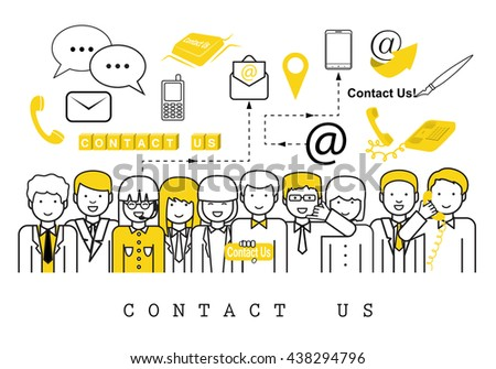 Business People-Contact Us-On White Background-Vector Illustration, Graphic Design.Business Concept And Content For Web,Websites,Magazine Page,Print,Presentation Templates And Promotional Materials