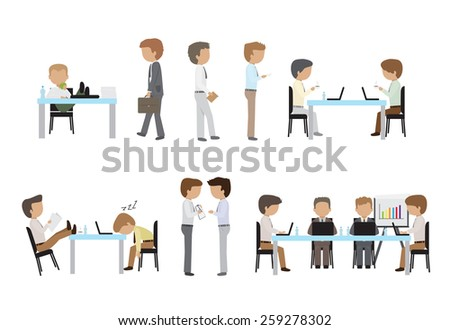 Business People, Different Situation, Coworking Space - Isolated On White Background - Vector Illustration, Graphic Design Editable For Your Design  - stock vector