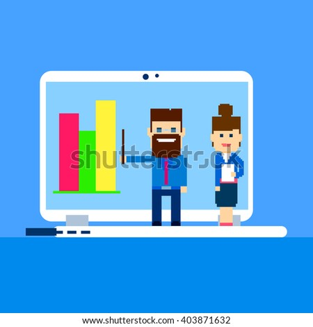 Business People Finance Graph Conference Using Laptop Computer Presentation Flat Vector Illustration - stock vector