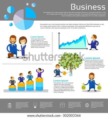 Business People Financial Success Infographic Businesspeople Vector Illustration - stock vector