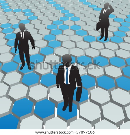 Business people find solutions in a social media hexagon network. - stock vector