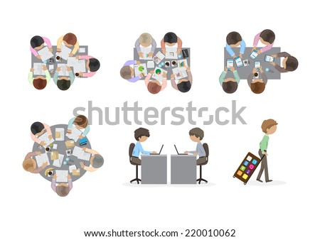 Business People, Flat Illustrations, Office Workers, Brainstorming, Development, Travel - Isolated On White Background - Vector Illustration, Graphic Design Editable For Your Design - stock vector