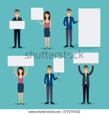 Business people giving presentation with white empty banners. Business flat vector illustration. - stock vector