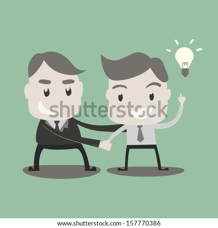 Business people got idea and shaking hands  - stock vector