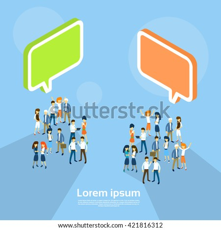 Business People Group Chat Bubble Team Communication Teamwork 3d Isometric Vector Illustration - stock vector