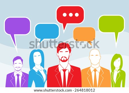 Business People Group Chat Colorful Communication Concept Vector Illustration - stock vector