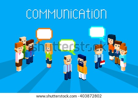 Business People Group Chat Communication Bubble Concept, Business People Talking Discussing 3d Isometric Flat Design Vector Illustration - stock vector