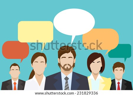 business people group chat global communication social network color flat icon design vector illustration - stock vector