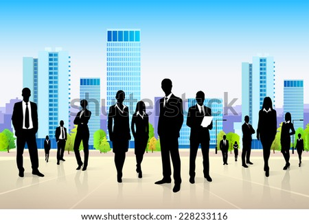business people group city landscape modern office buildings, vector illustration