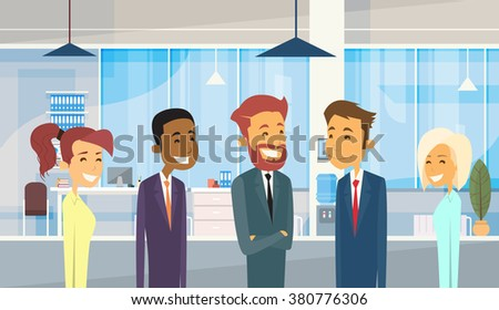Business People Group Diverse Team Businesspeople Office Vector Illustration - stock vector