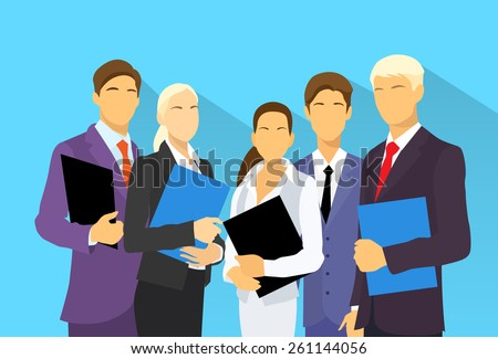 business people group human resources flat vector illustration - stock vector