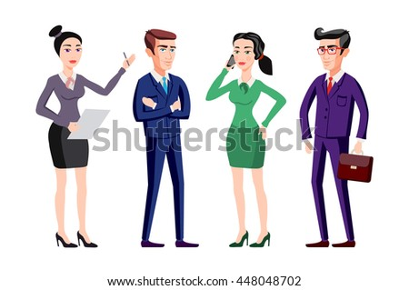 business people group human resources flat vector illustration art - stock vector