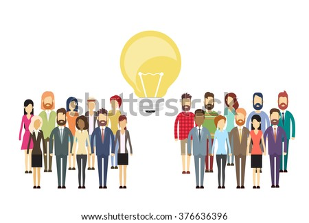 Business People Group Idea Concept Light Bulb, Business people Crowd Flat Silhouette Full Length Vector Illustration