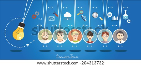 Business people group over conceptual. Silhouettes of people on a background of business icons. Partnership. Mind Map Team. - stock vector