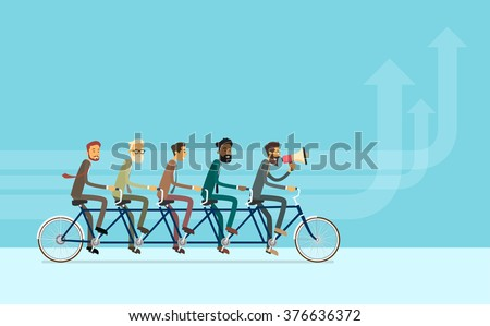 Business People Group Riding Bike Teamwork Concept Vector Illustration
