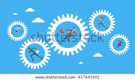 Business People Group Run In Cog Wheel Concept Teamwork Flat Vector Illustration - stock vector