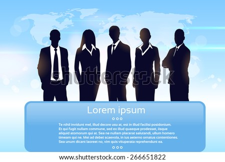Business People Group Silhouette Executives Team with Banner Board Copy Space Vector Illustration - stock vector