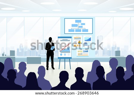 Business People Group Silhouettes at Conference Meeting Flip Chart with Graph Vector Illustration - stock vector